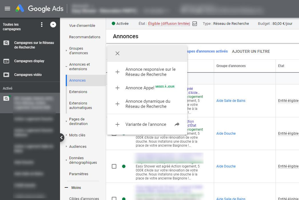 Capture d'écran de l'interface Google Ads proposant les annonces responsives, les annonces appels et les annonces dynamiques