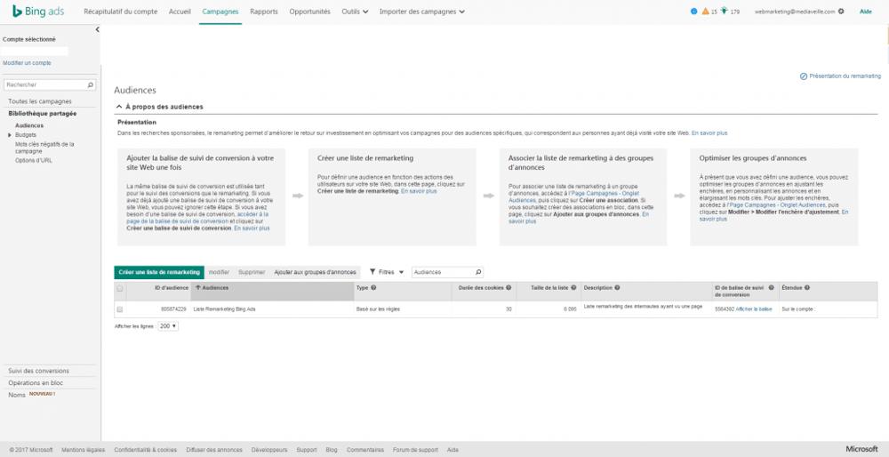 Bing Ads : créer une liste de remarketing
