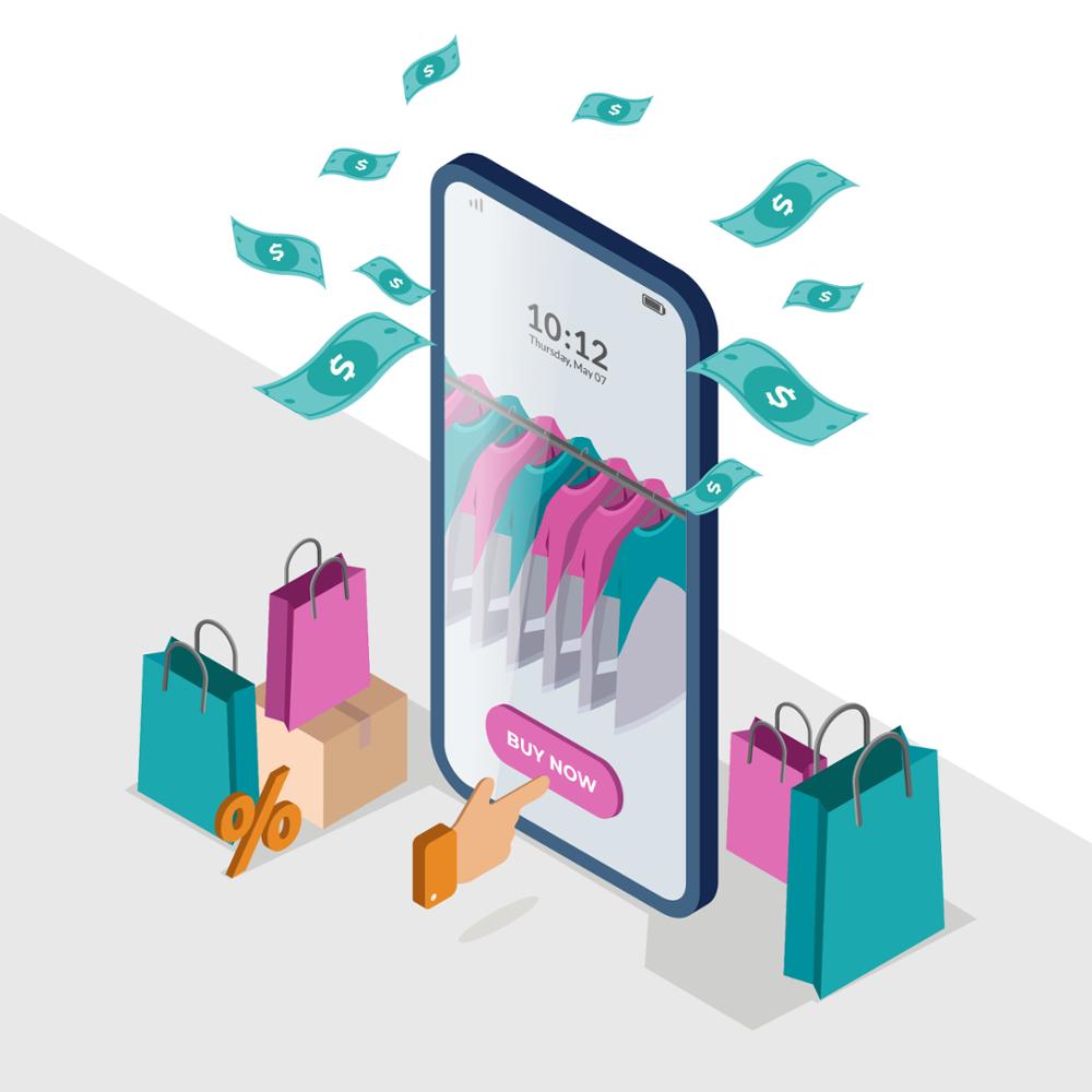 Illustration du concept d'achat sur mobile