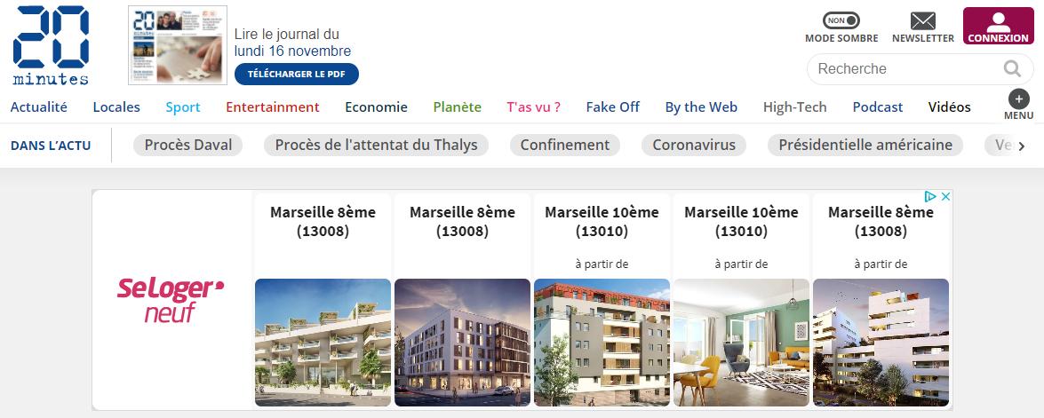 Retargeting dynamique : on me propose des annonces pour des programmes immobiliers neufs sur le site de 20 Minutes