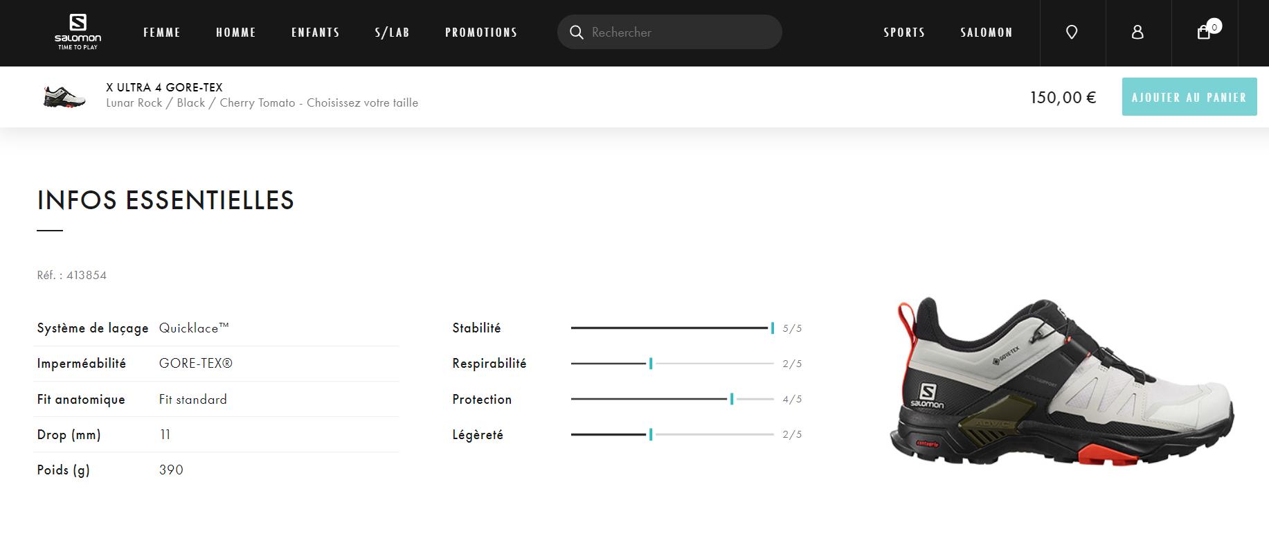 Exemple de page produit sur le site Salomon : les caractéristiques du produit sont présentées sous la forme de curseurs