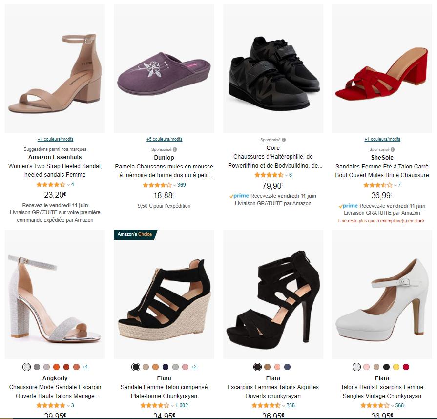 Capture d'écran de produits sponsorisés sur Amazon